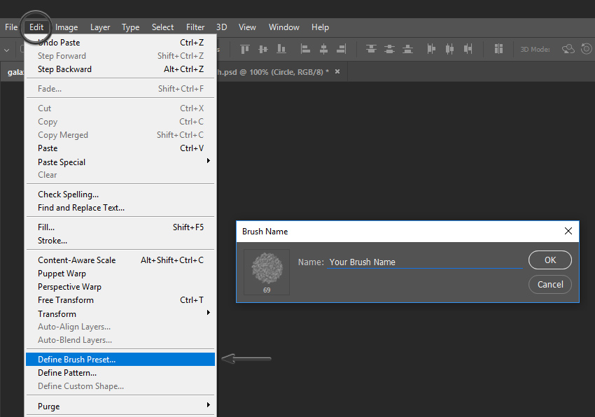 Example illustrating the creation of a Brush Preset