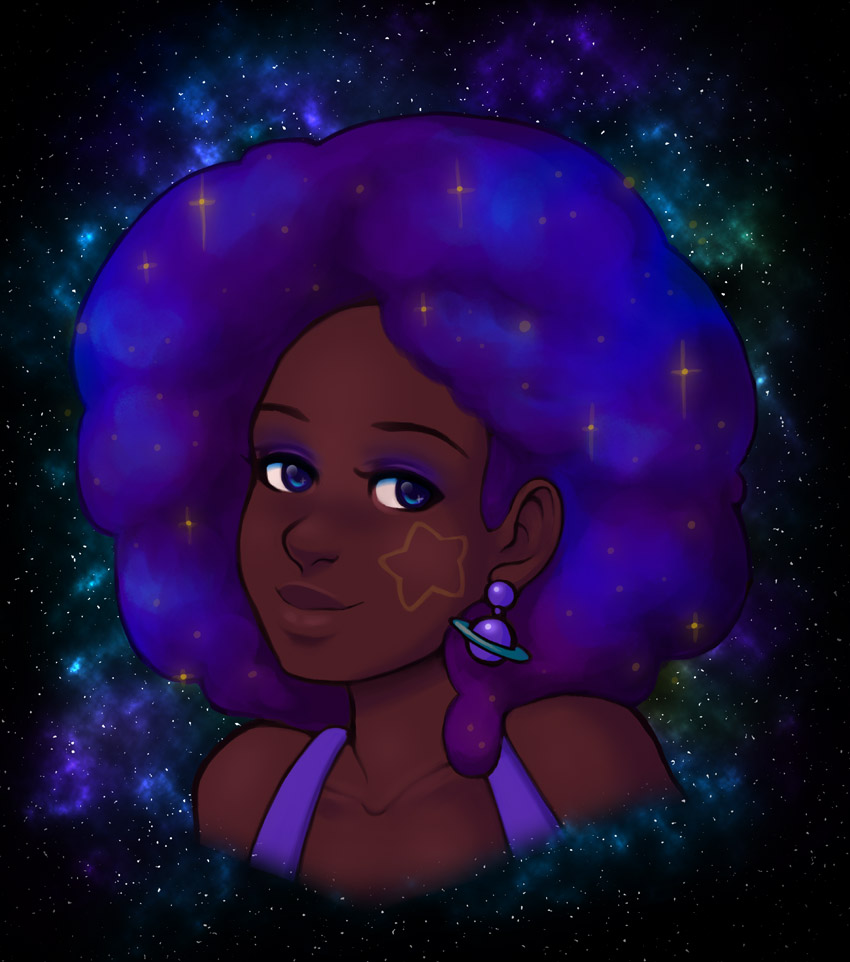 Finished Galaxy Afro Portrait