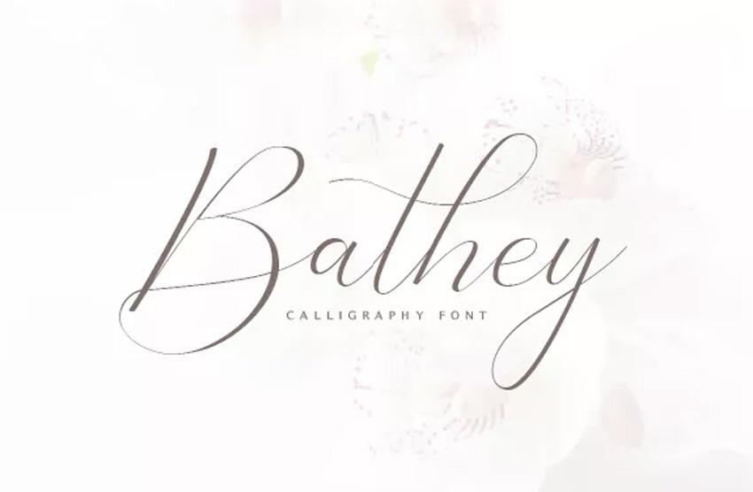 Bathey Calligraphy Font