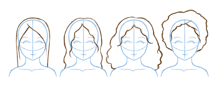 Example of different hair types