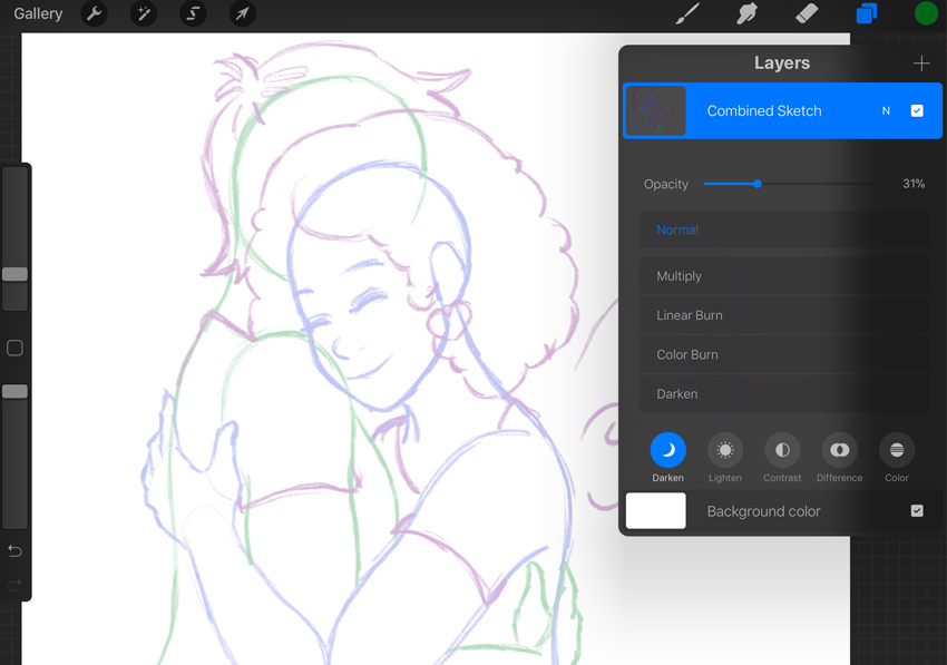 Combined Sketch with Lowered Opacity