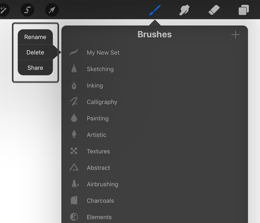 Deleting a New Brush Set