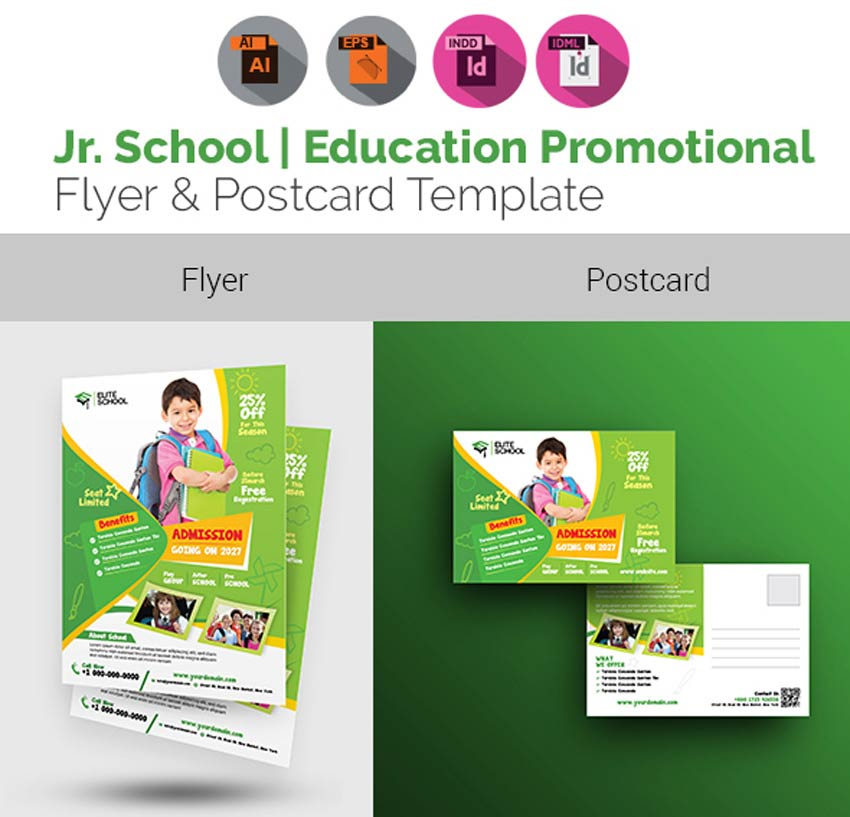 School Flyer with Postcard Bundle