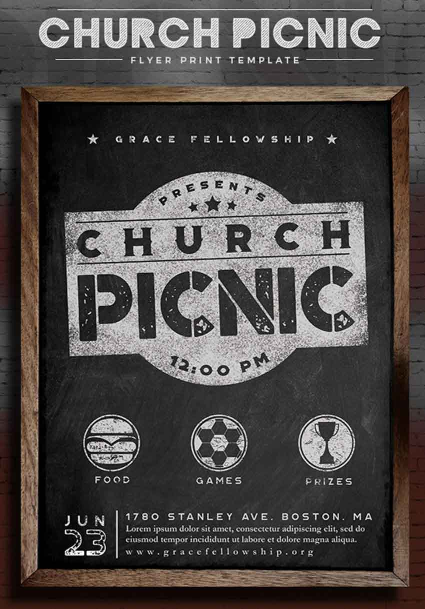 Rustic Chalkboard Church Picnic Flyer