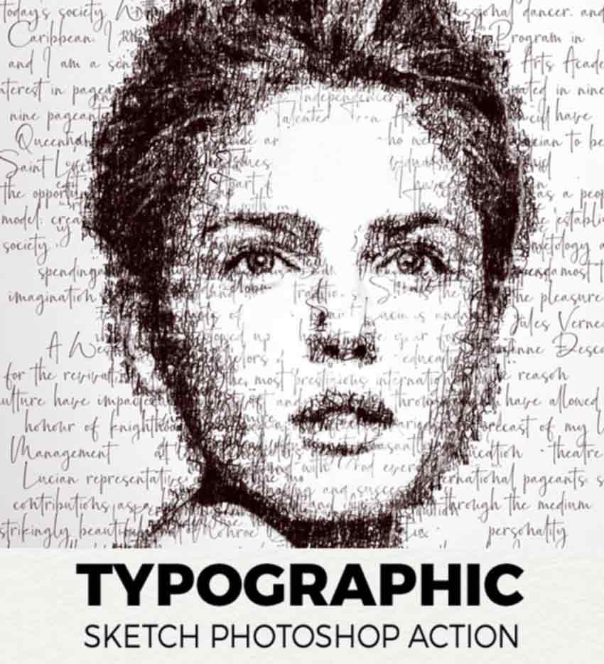 Typographic Sketch Photoshop Action