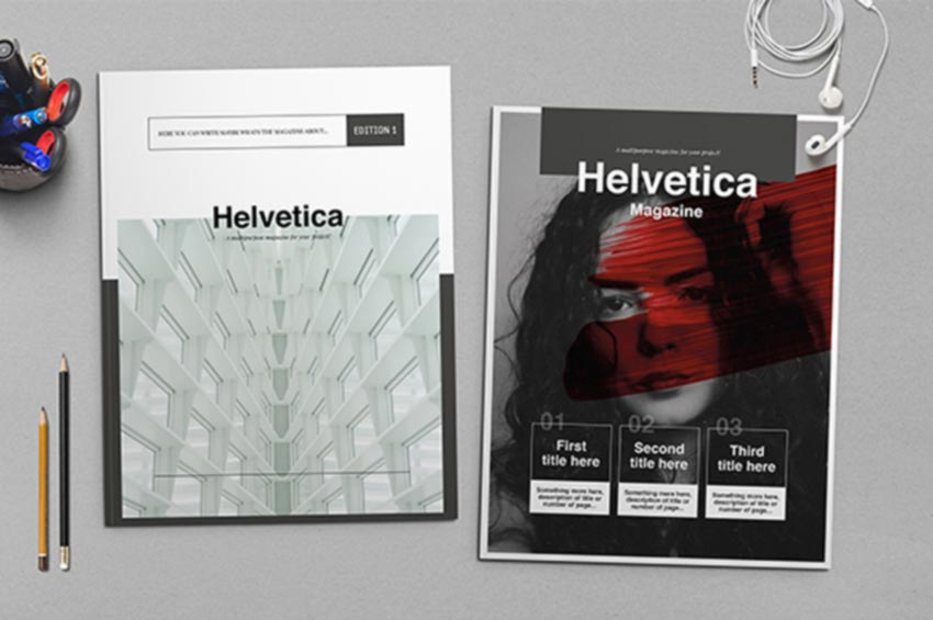 Helvetica InDesign Magazine Template