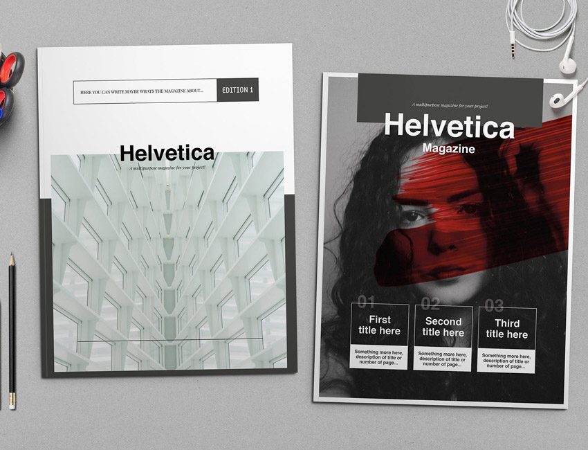 Helvetica Magazine InDesign Template