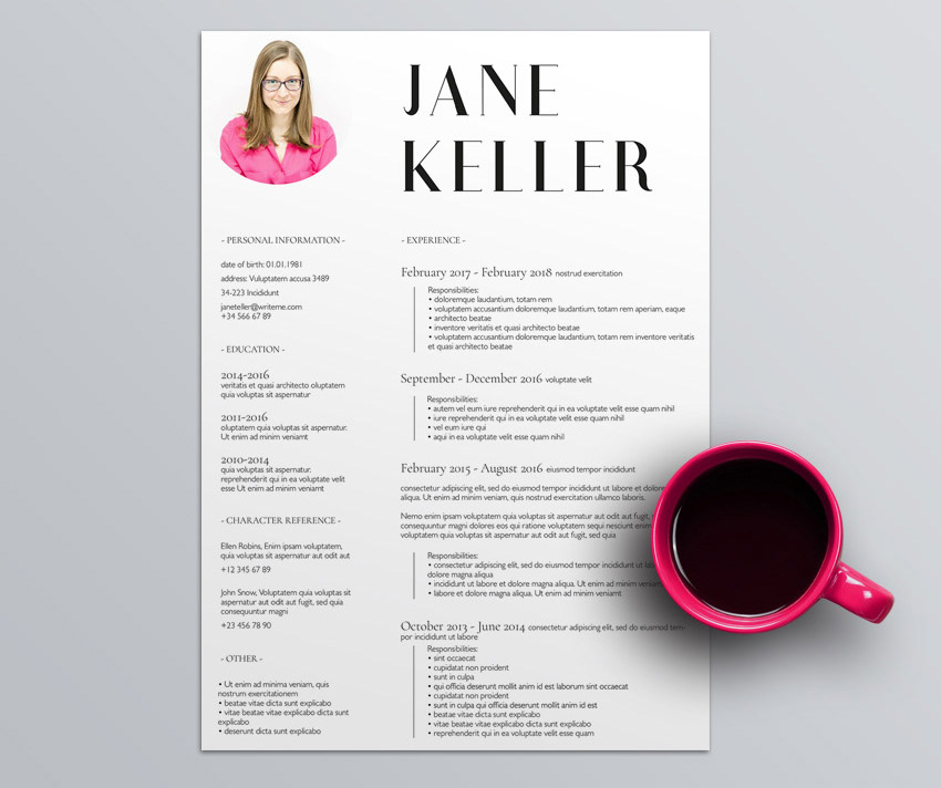 Free Minimalist Resume Template in InDesign