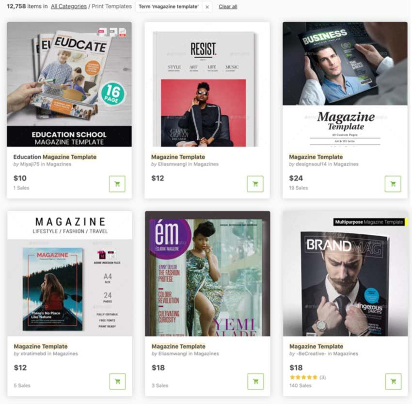 Magazine Templates on Graphic River