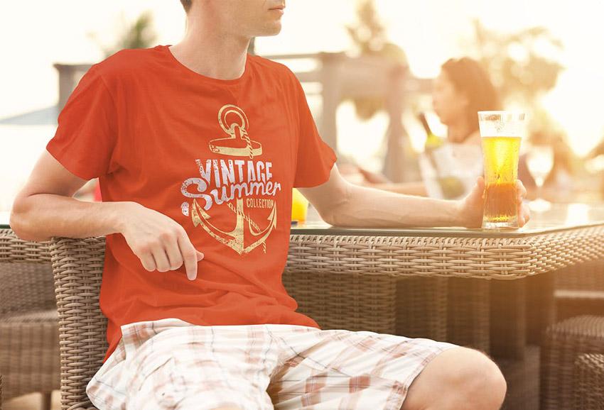 Vintage Summer T Shirt Design Mockup