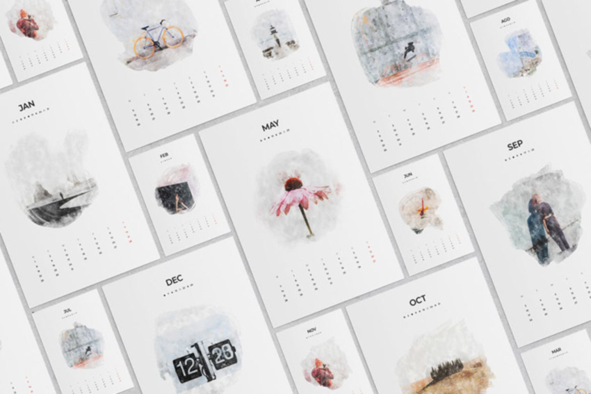 2020 Watercolor Calendar