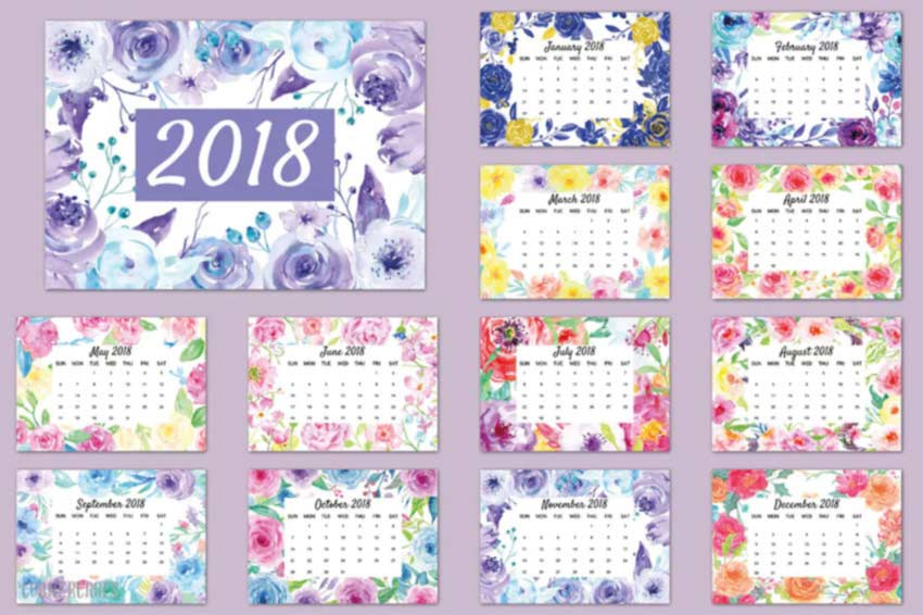 Watercolor Floral Calendar