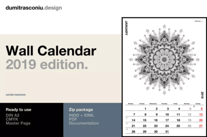 A3 InDesign Wall Calendar