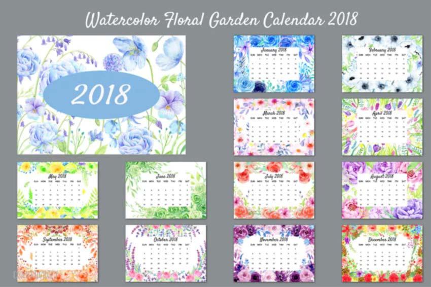 Floral Garden Calendar Template