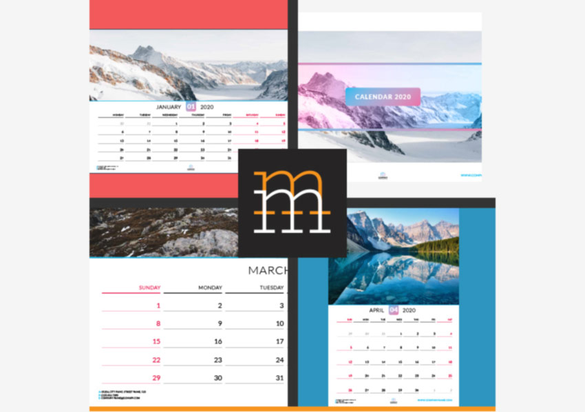 2020 InDesign Wall Calendar