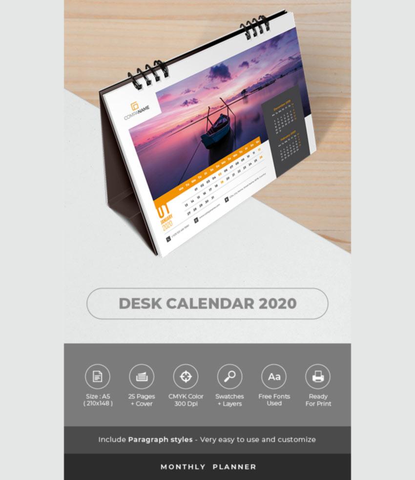 Desk Calendar 2020 Planner