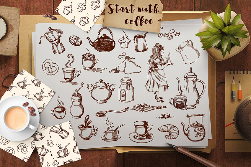 Coffee Themed Scrapbooking Elements