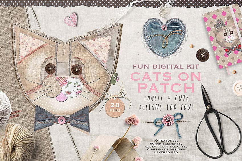 Cats Patchwork Scrapbooking Kit
