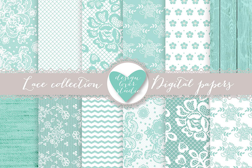 Mint Digital Scrapbook Paper