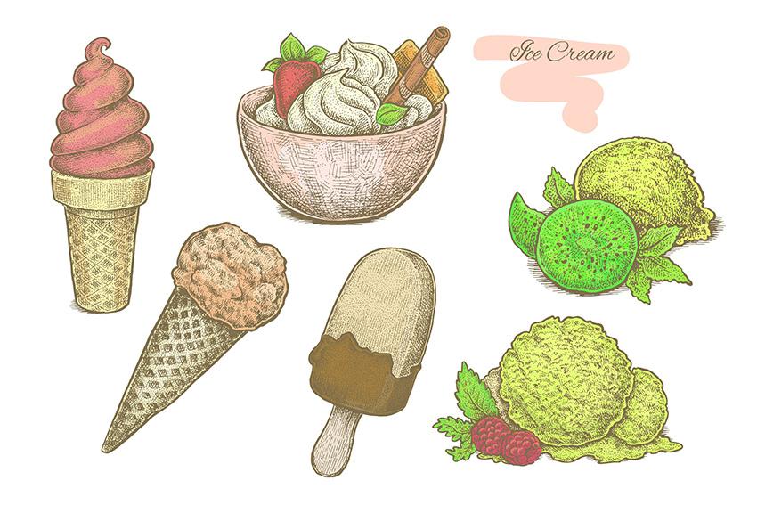 Ice Cream Vector Set by Eugenia Hauss