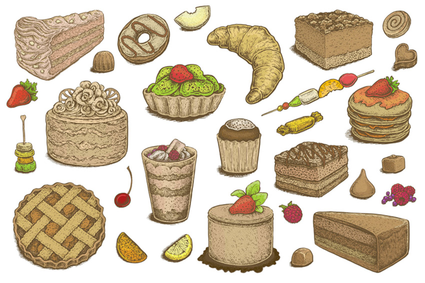 Hand Drawn Desserts Vector Set by Eugenia Hauss