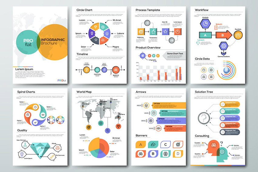 Pro Flat Infographic Brochures by Andrew_Kras