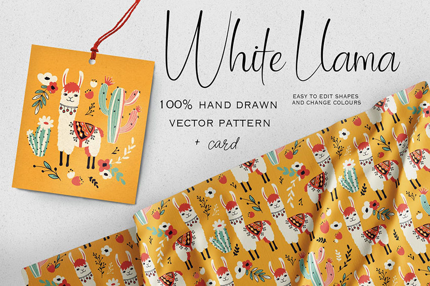 White Llama Vector Pattern