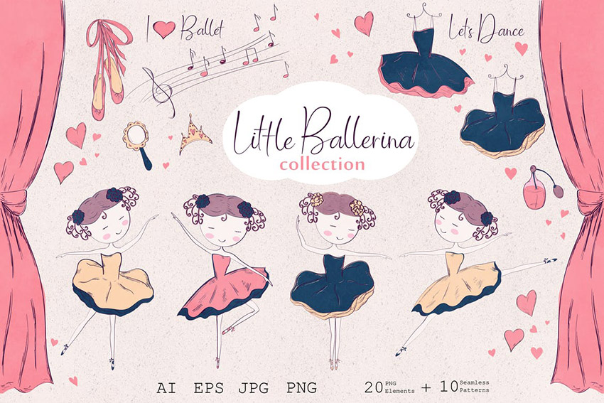 Little Ballerina Cute Vector Illustrations