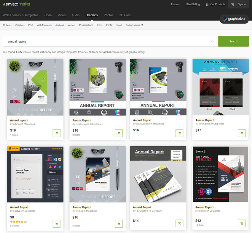 GraphicRiver Annual Report Templates