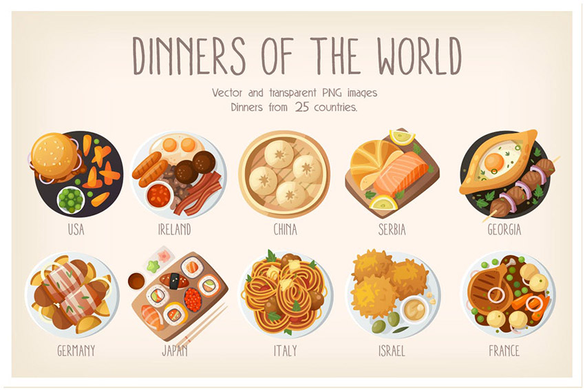 Dinners of the World Illustrations by moonery