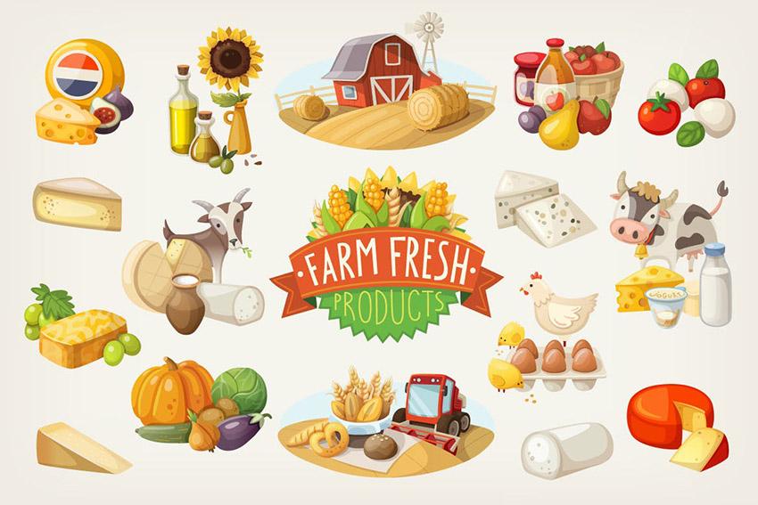 Organic Food Illustrations by moonery
