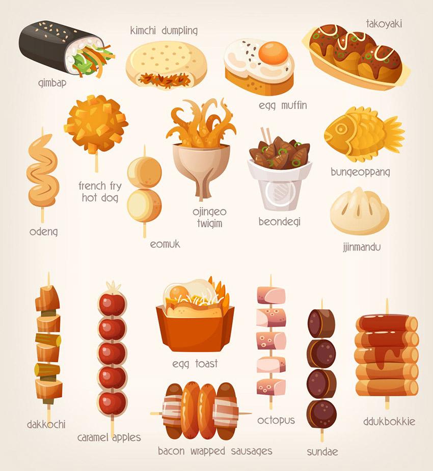 Korean Food Illustrations by moonery
