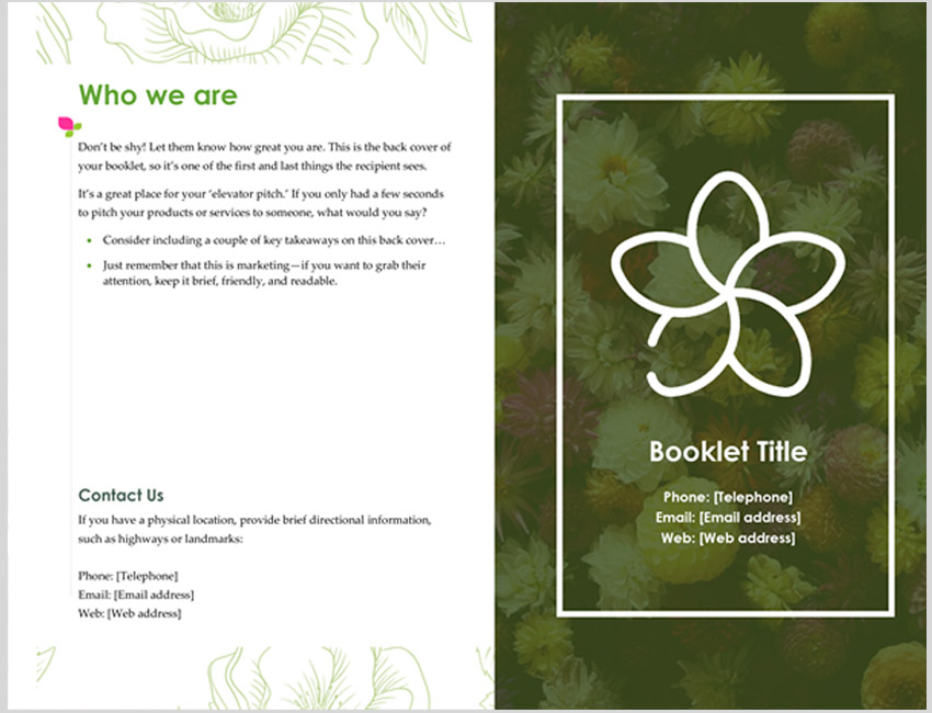 Green Floral Bifold Booklet