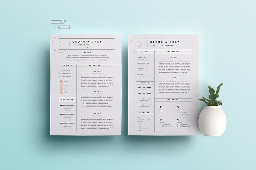 3 Page Resume Template and Cover Letter