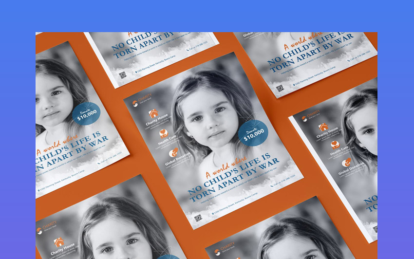 Charity NGO Non-Profit Flyer PSD Template