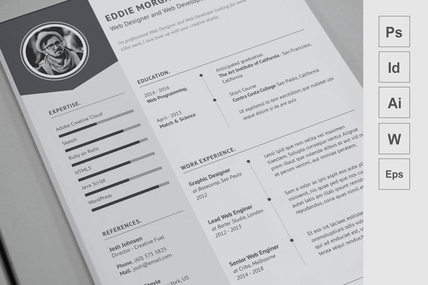 Black  White Resume InDesign Template
