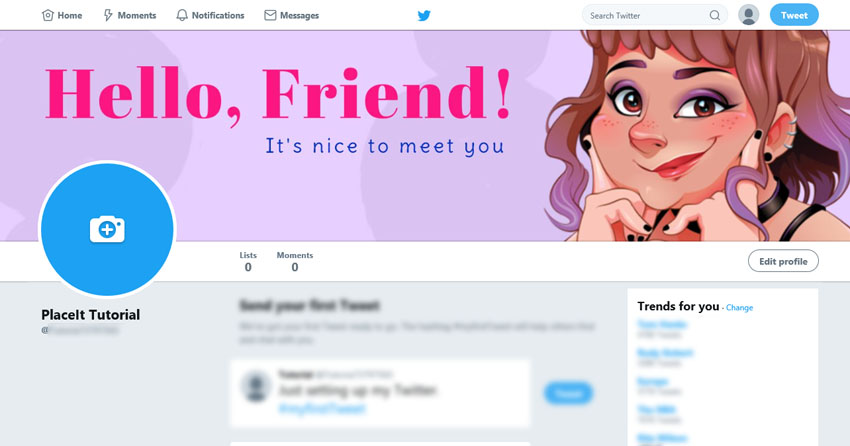 Customized Twitter Profile with Header