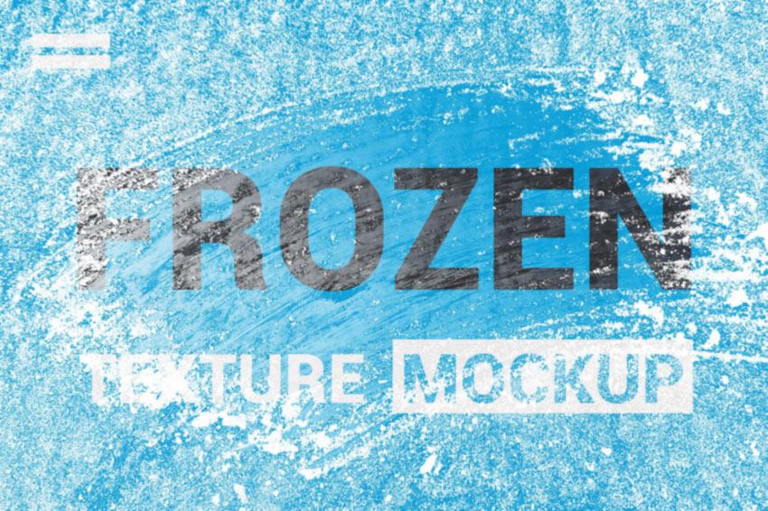 Photoshop Ice Frozen Texture Overlay Mockup