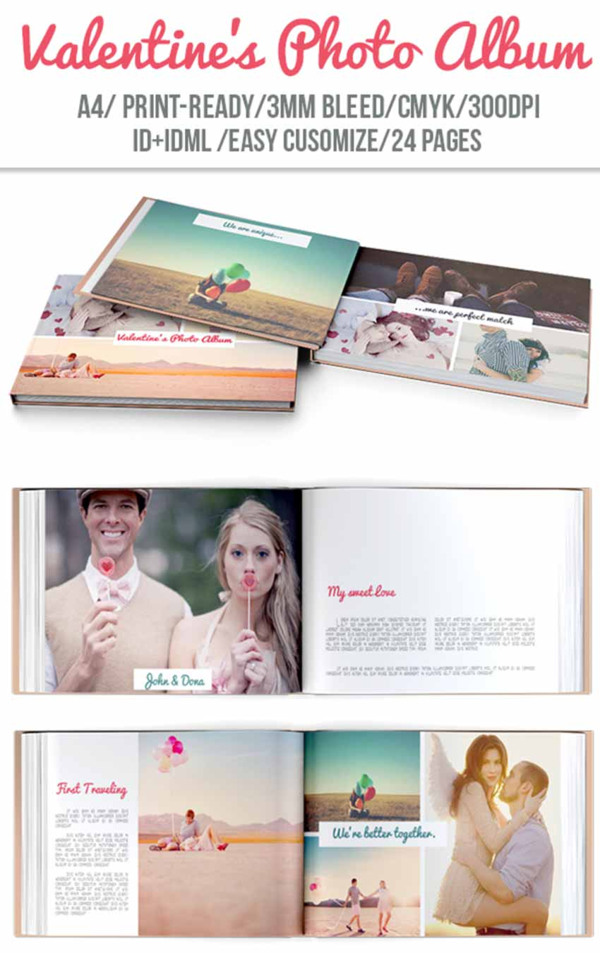Valentines Day Wedding Photo Book Template
