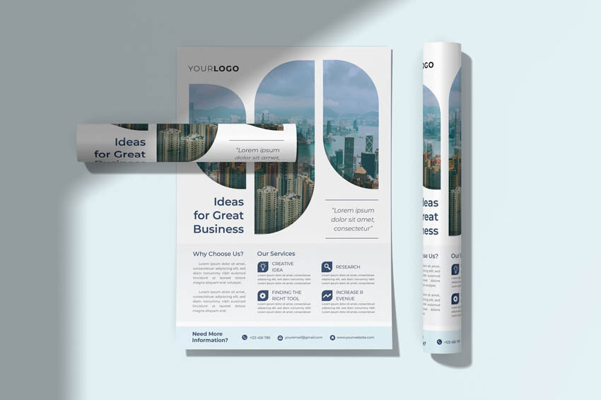 How To Make a Professional Business Design - Abstract Shape Flyer Design