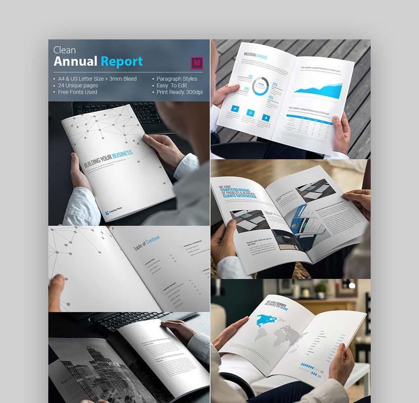 Conjunto de plantillas InDesign limpias para reporte anual corporativo