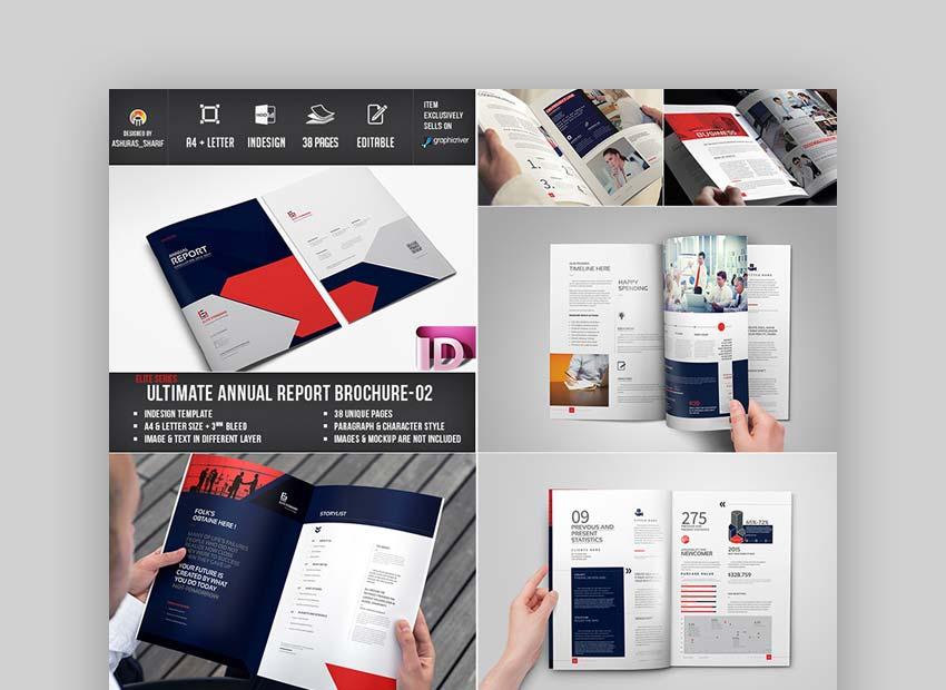 Asombrosa plantilla de Adobe InDesign para informe anual