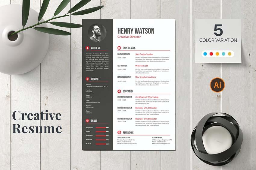 side bar resume design