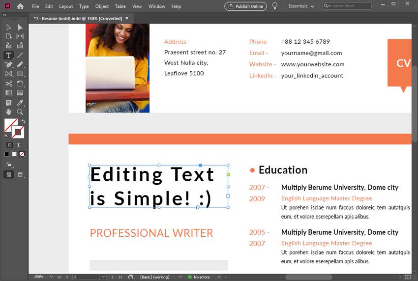 Edit Text in InDesign