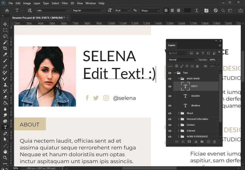 Edit text in Photoshop