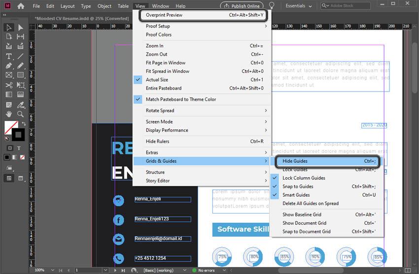 Edit Adobe InDesign Resume Template Tutorial Guides in Adobe InDesign