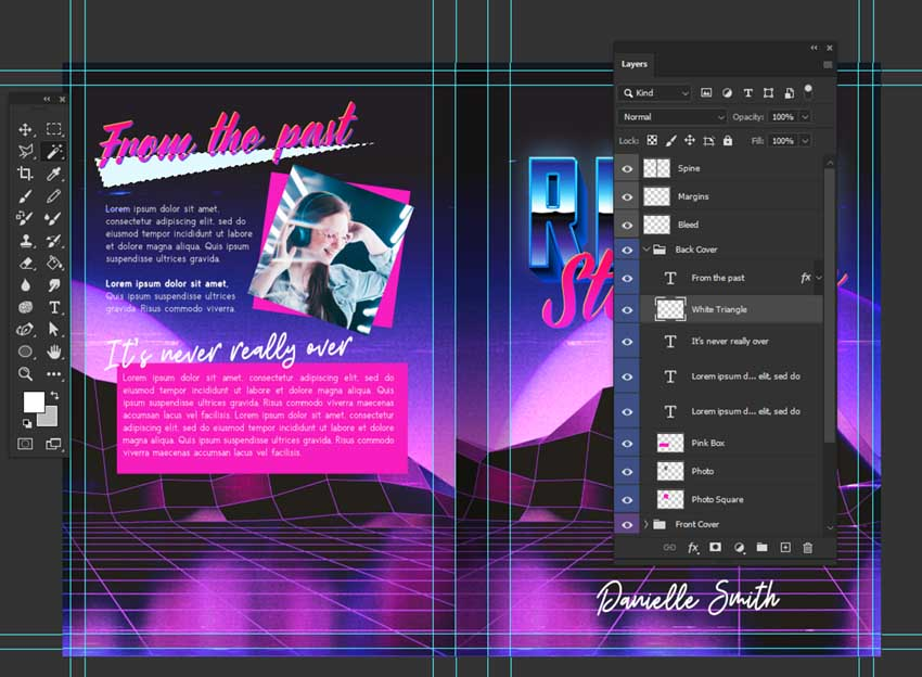 photoshop 80s book cover design