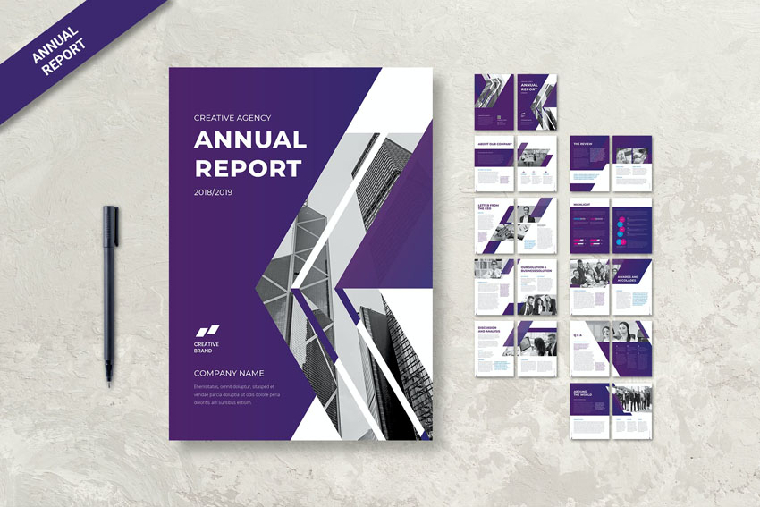 InDesign report layout design template