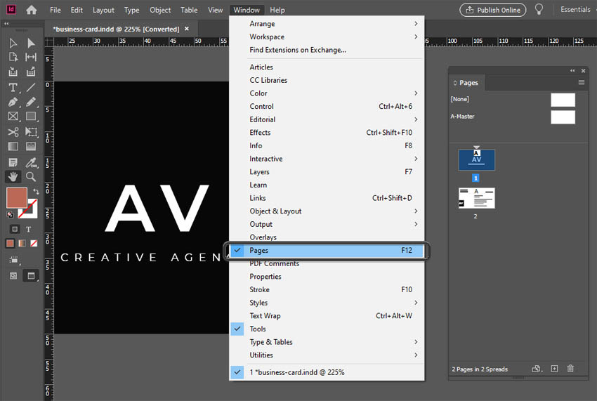 InDesign Pages Panel