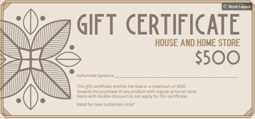 Elegant Blank Gift Certificate Design